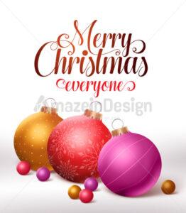 Christmas Greetings Card Design with Christmas Balls - Amazeindesign