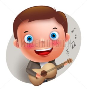 Guitarist Vector Character Singing and Holding Guitar - Amazeindesign