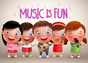 Kids Playing Musical Instruments Vector Characters - Amazeindesign