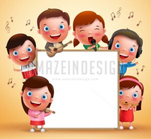 Kids Vector Characters Playing Musical Instruments - Amazeindesign