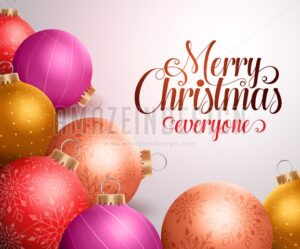 Merry Christmas Background Design of Christmas Balls - Amazeindesign