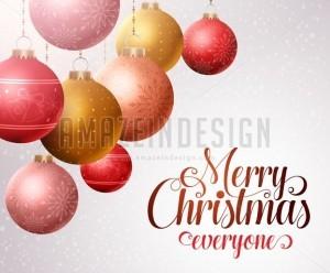 Merry Christmas Background, Hanging Christmas Balls - Amazeindesign