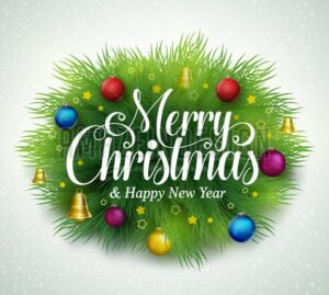 Merry Christmas Title in Green Pine Leaves - Amazeindesign