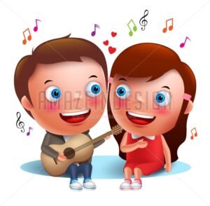 Two Young Kids Couple Singing Serenade with Guitar - Amazeindesign