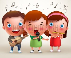 Vector Character Kids Singing and Playing Guitar and Flute - Amazeindesign