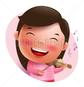 Violinist Vector Character Singing and Holding Violin - Amazeindesign