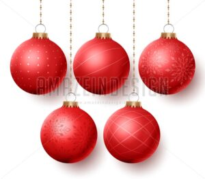 Christmas Balls Vector Set with Designs Isolated - Amazeindesign