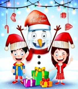 Christmas Greetings with Happy Kids and Snowman - Amazeindesign
