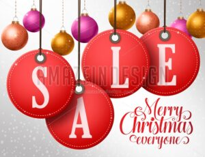 Christmas Sale Vector Design in Hanging Red Sale Tags - Amazeindesign