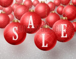 Christmas Sale in Christmas red Balls Hanging Vector - Amazeindesign