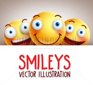 Funny Happy Smileys Vector Background with Smile - Amazeindesign