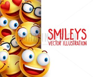 Funny Smiley Face Vector Characters Background - Amazeindesign