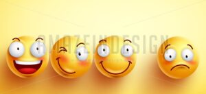 Funny Smileys Vector Faces with Happy Smile - Amazeindesign