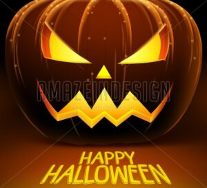 Halloween Vector Background with Scary Pumpkin - Amazeindesign
