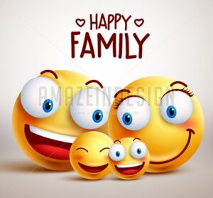 Happy Family Smiley Face Vector Characters - Amazeindesign