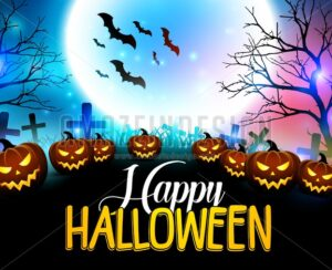 Happy Halloween Background with Scary Pumpkins - Amazeindesign