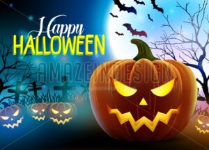 Happy Halloween Vector Design with Scary Pumpkins - Amazeindesign