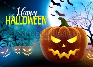 Happy Halloween Vector Design with Scary Pumpkins - Amazeindesign