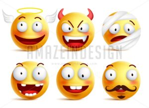 Set of Vector Smileys with Funny Faces Like Angel - Amazeindesign