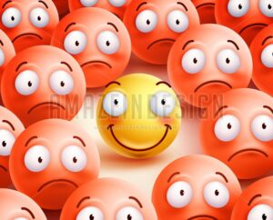 Smiley Vector Character the Only Smile Face in Crowd - Amazeindesign