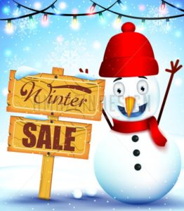 Snowman Mascot Winter Sale In A Wood Sign - Amazeindesign