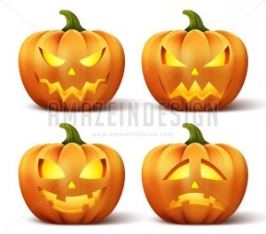 Vector Pumpkins Set of Different Faces for Halloween - Amazeindesign