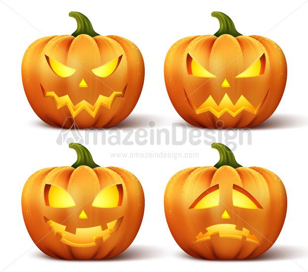 Halloween Pumpkin Vector.Vector Pumpkins Set Of Different Faces For Halloween