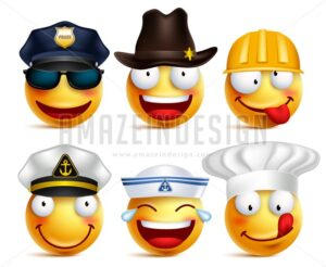 Vector Set of Smiley Face Professions with Hats - Amazeindesign
