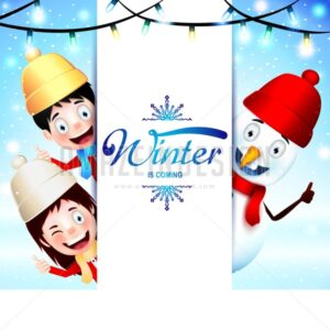 Winter Is Coming Greeting With Happy Kids - Amazeindesign