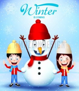 Winter Is Coming with Kids Vector Characters - Amazeindesign