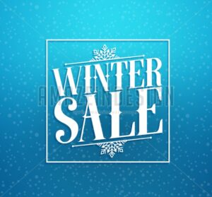 Winter Sale Title Vector Design in Blue Background - Amazeindesign