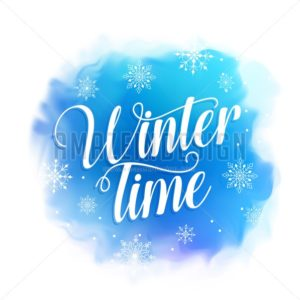 Winter Time Text Vector Design for Greetings Card - Amazeindesign