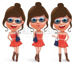 Fashion Teen Female Vector Character Wearing Skirt - Amazeindesign