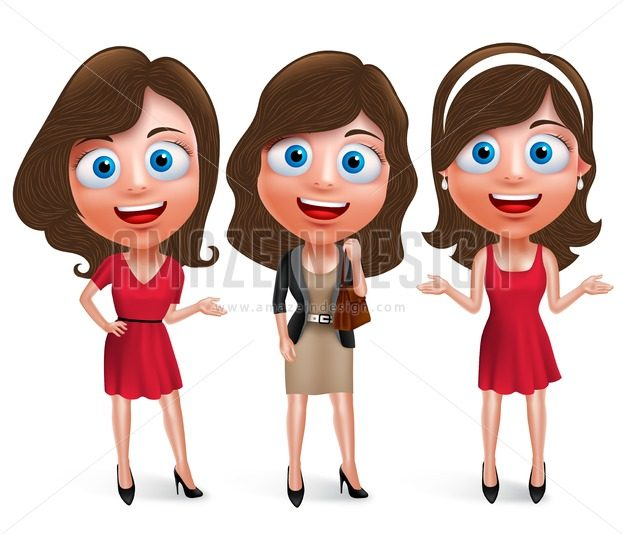 Fashion Teenage Girls Vector Characters Set with Pose - Amazeindesign