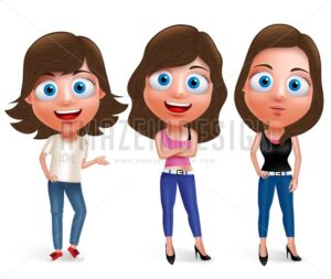Fashionable Teenager Woman Model Vector Characters - Amazeindesign