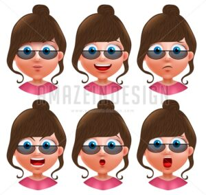 Female Avatar Facial Expressions Vector Characters - Amazeindesign