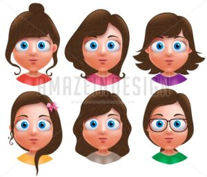 Female Avatar Vector Characters with Cute Hairstyle - Amazeindesign