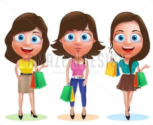 Female Shopping Vector Characters with Shopping Bags - Amazeindesign