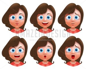 Female Teenager Girl Heads Avatar Vector Character - Amazeindesign