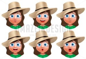 Girl Avatar Faces Vector Character Facial Expressions - Amazeindesign