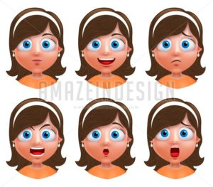 Girl Avatar Vector Character with Facial Expressions - Amazeindesign