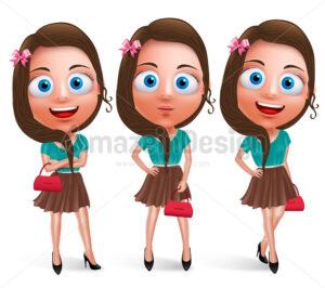 Lovely Teen Girl Vector Characters Holding Handbag - Amazeindesign