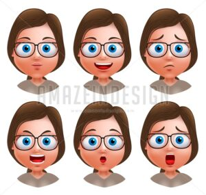 Nerd Girl Avatar Vector Character Heads - Amazeindesign
