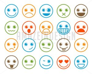 Smiley Emoticons Vector Icon Set in Flat Line Circle - Amazeindesign