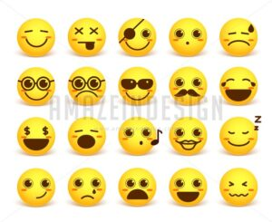 Smiley Face Cute Vector Emoticon Set in Yellow Color - Amazeindesign