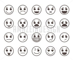 Smiley Face Flat Line Vector Icons Set with Expressions - Amazeindesign