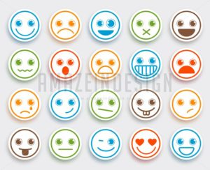 Smiley Face Vector Emoticon Set White Flat Icon Sticker - Amazeindesign