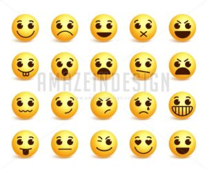 Smiley Face Vector Icons Set with Funny Expressions - Amazeindesign