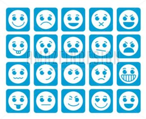 Smiley Face Vector Icons in Square Flat Blue Buttons - Amazeindesign