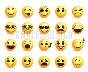 Smiley Faces Vector Emoticons Set with Expressions - Amazeindesign